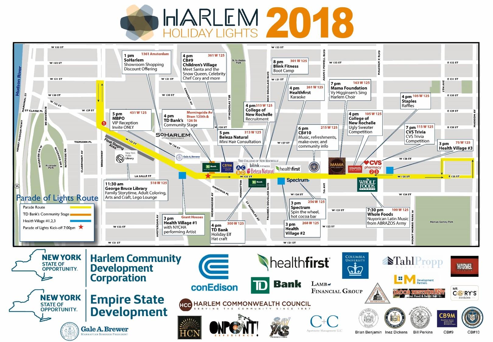 Final Harlem Holiday Lights 2018 Parade Map v2